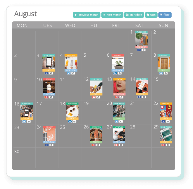 Visualize and manage your campaigns with our smart cloud calendar.