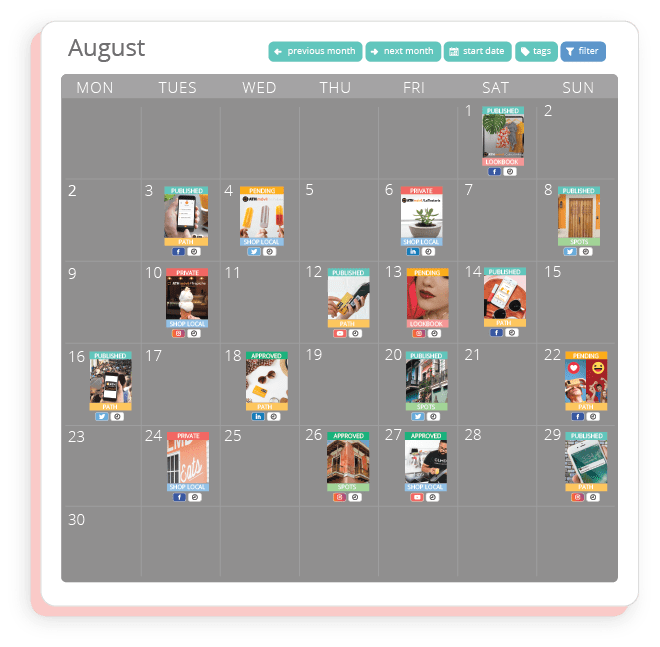 Sharelov's campaign calendar helps your client and your team visualize how the campaign will run