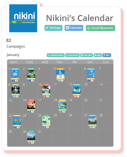 The Brand Calendar groups all the brand's online, offline and social media campaigns into a single shared calendar.