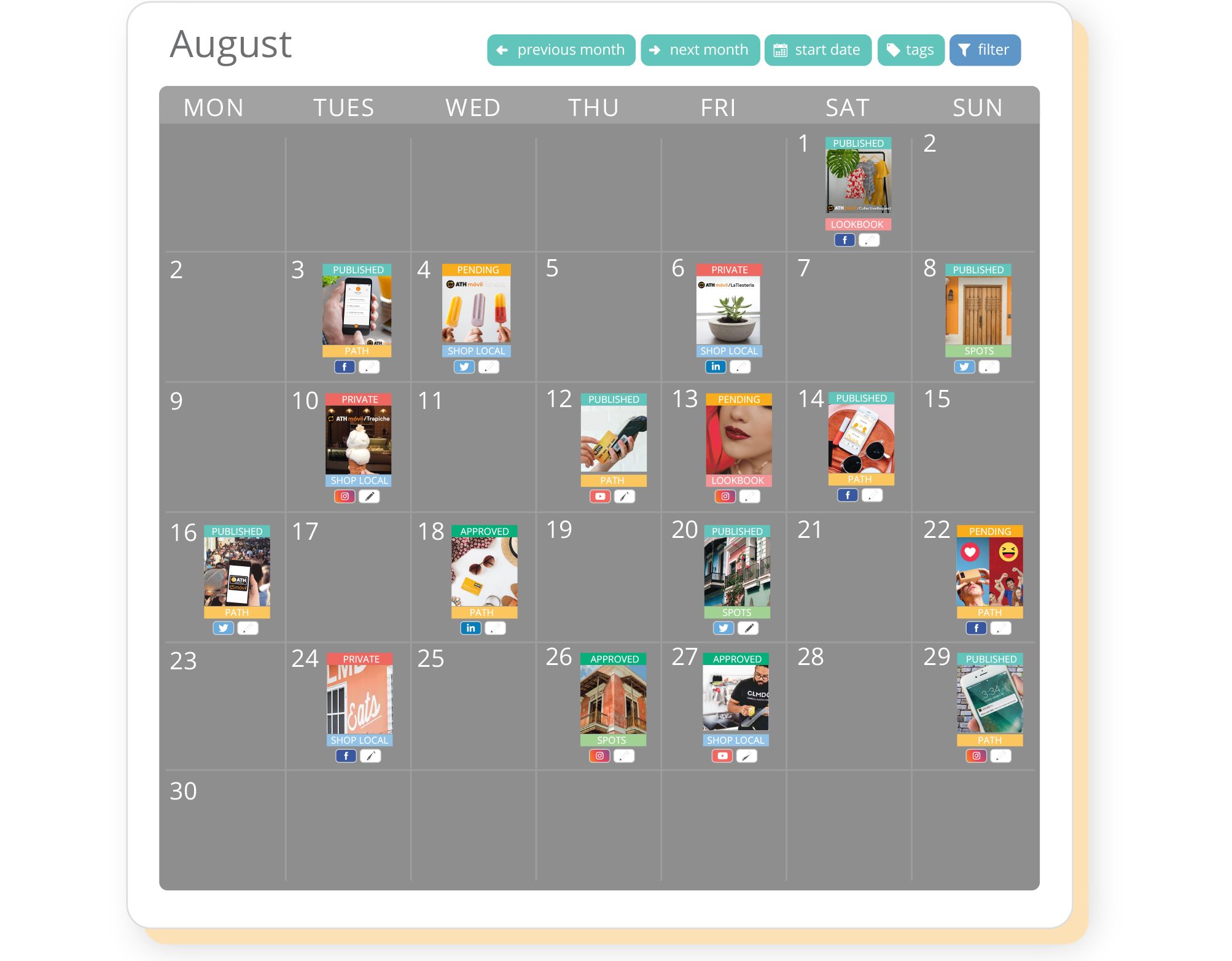 Sharelov's campaign calendar allows everyone in the team to visualize how the campaign will run.